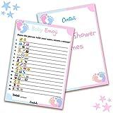 Juegos de ducha para bebés (25 unidades) Emoji Piccionario Game-Fun Idea para adultos, hombres, mujeres, niños, niñas, niños, parejas, lindo, azul, rosa, blanco, con capa, divertido juego de invitados