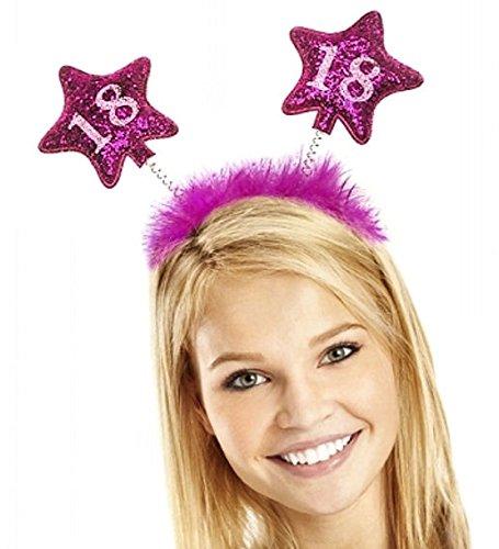 PartyDeco Haarreif zum 18. Geburtstag mit bunter Federboa und Sternen für Mädchen, Modell:Op18-Karton - 2