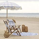 HH- Sombrillas Sombrilla de Playa Plegable con Borla, Ancla de Arena, Sombrilla con Flecos de Celosía Azul para Camping/Piscina/Balcón, Varilla de Madera Maciza, 6.5 Pies / 2 M