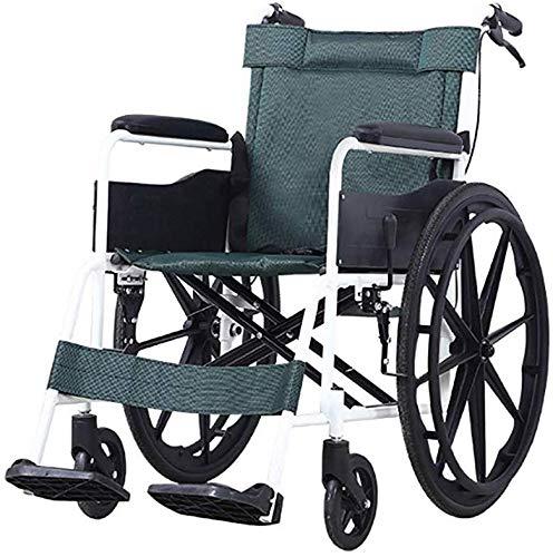 Dljyy Opvouwbare rolstoel, licht vouwwerk, comfortabele Breath Oxford-doek, 22-inch achterwiel, lekvrije banden, maximaal gewicht 100 kg, koolstofstaal, GLL