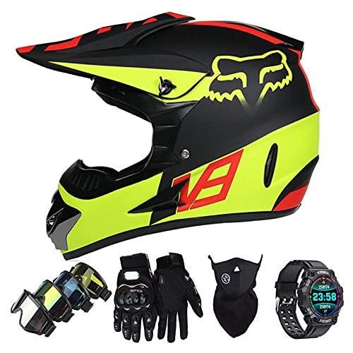 Casco Motocross Niño Set con Diseño FOX, Adulto y Juventud Integral Homologado Moto Cross Casco para Downhill ATV Enduro Off Road (Gafas+Máscara+Guantes+Reloj Inteligente) LXY-7