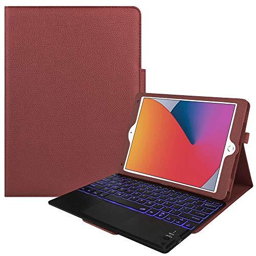 7色バックライト iPad10.2/ Pro10.5 / Air3 キーボード iPadキーボード レザーケース キーボードタッチパッド付き Bluetooth キーボード iPadワイヤレスキーボード スタンド機能 カバー (ブラウン)
