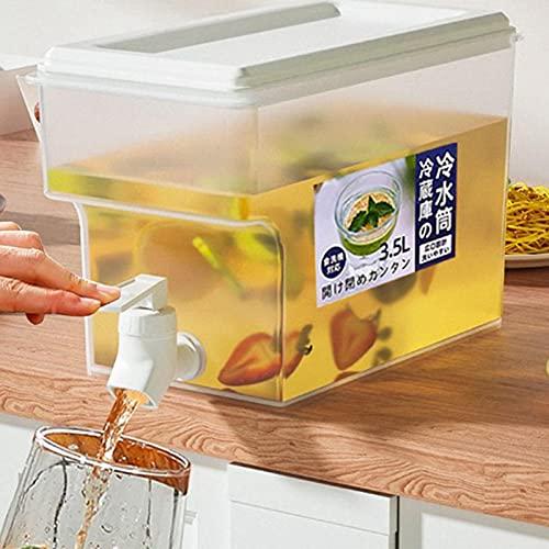 Jomewory Dispensador de bebidas con grifo de 0,92 galones/3,5 litros jarra de jugo hervidor frío con grifo nevera puerta jarra de agua para hacer tés y jugos sin BPA