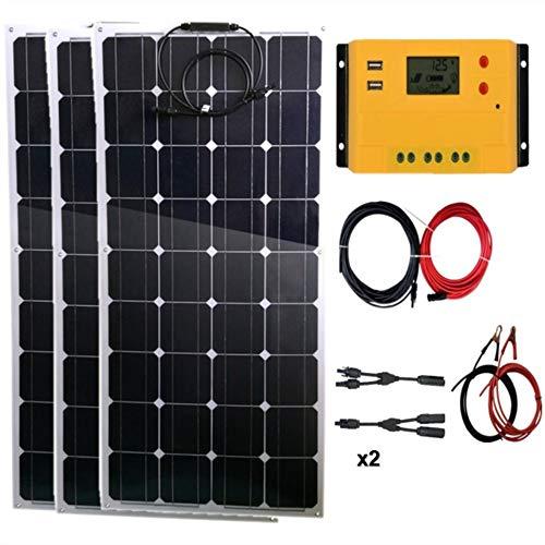 Kit de panel solar portátil AUECOOR de 300 W (3 paneles solares flexibles de 100 W), controlador de carga impermeable de 30 A para batería de 12 V/24 V y generador