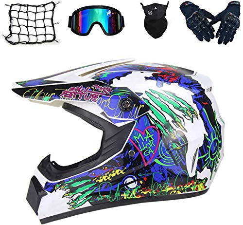 AGVEA Motocross helm kinder,fullface helm,crosshelm kinder,enduro helm,cross helm,crosshelm mit brille,kinder crosshelm,downhill helm,helm quad kinder,downhill helm kinder (M)
