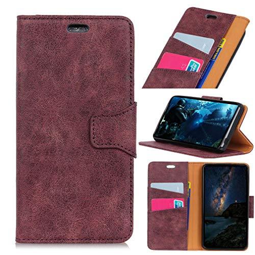 SZHTSWU Hülle für BQ Aquaris V Plus/VS Plus (5,5 Zoll), Retro Muster PU Leder Tasche Brieftasche Flip Wallet Case Schutzhülle mit Kartenfächern, Fuchsie