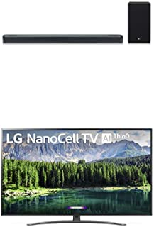 "LG 75SM8670PUA Nano 8 Series 75"" 4K Ultra HD Smart LED NanoCell TV with LG SL8YG 3.1.2 Channel High Res Audio Sound Bar w/Meridian Technology, Dolby Atmos"