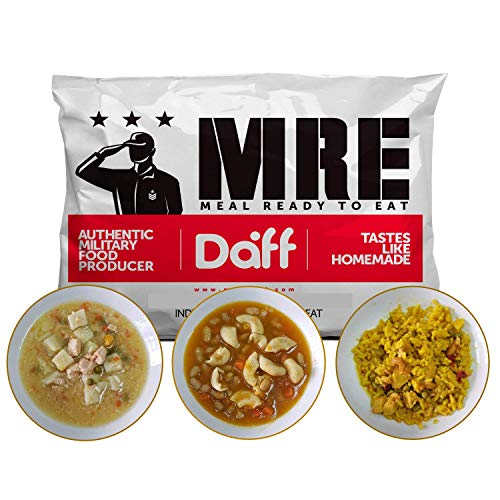 MRE Meals Military Style by DAFF. Mix Meal Pack (1 Pasta, 1 Paella, 1 Salmon Stew) (3 Single Meals). Full MRE Meal Ideal for Camping, Survival, Prepping and as Emergency Food. [1000 Calories/Bag]