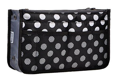 Vercord Purse Organizer Insert for Handbags Bag Organizers Inside Tote Pocketbook Women Nurse Nylon 13 Pockets Black Dots Large