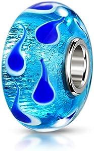 Materia joyería objetos de cristal de Murano Bead cianhídrico peces - 925 de plata con cuentas de perlas de murano azul con hojas diferentes #975