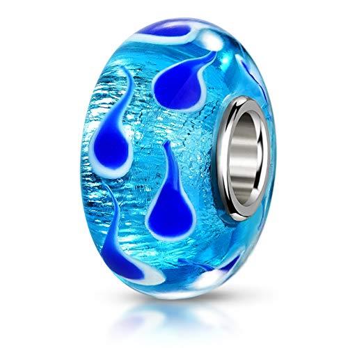 MATERIA Schmuck Muranoglas Bead Blau Fische - 925 Silber Murano Beads Perle blau mit Folien Stücken #975