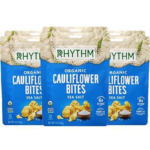 Rhythm Cauliflower Bites Sea Salt (Keto Friendly, Low Carb, Paleo, Vegan) Mission Nutrition (6 Pack) Bag