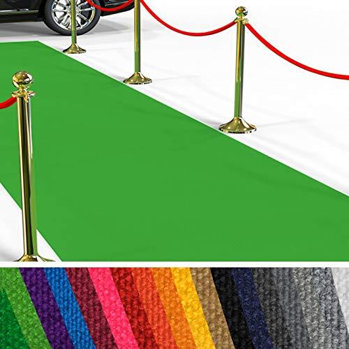 etm Hochwertiger Messeteppich Meterware | Rollteppich VIP Eventteppich, Hollywood Läufer, Hochzeitsteppich | 18 Farben in 23 Größen | Hellgrün - 100x100 cm