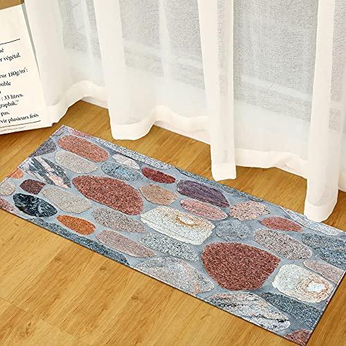 OPLJ Alfombra de Piso Larga con impresión de Piedra 3D, Alfombra para Puerta, Alfombra para Sala de Estar, Cocina, Alfombra Lavable Antideslizante, Alfombra para Puerta A9 40x120cm