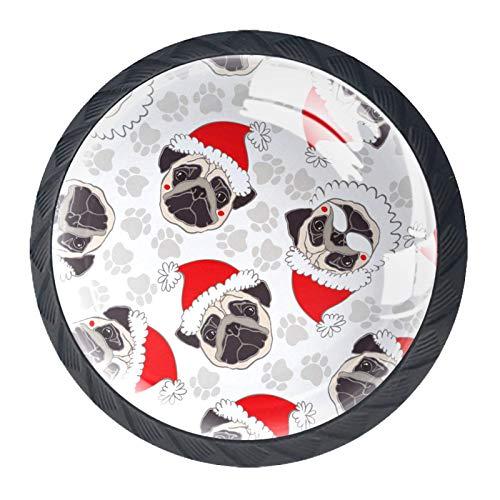 Redondo Negro pomos Pata de Navidad de cachorro para muebles de habitación infantil, para habitación infantil, armarios, cajones, baúles (4pcs) 35mm