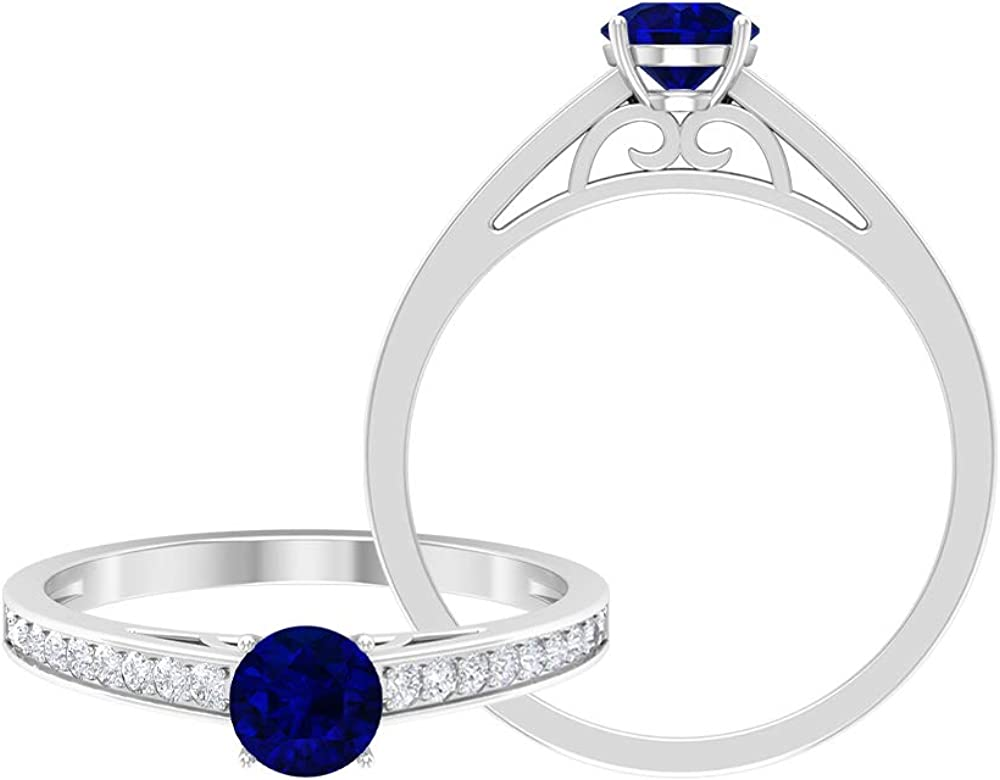 September Birthstone New products Selling world's highest quality popular - 5.00 MM Blue HI- Ring Solitaire Sapphire