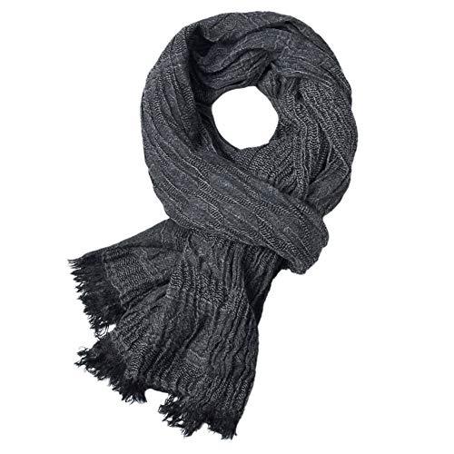 LAMEIDA Fular de Hombre Color sólido con Flecos Bufunda de Tela mezclada Size 200 * 80cm (Negro)