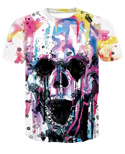 Fashion Mens 3D Digital Printed Design Pattern T-Shirts Top Tees Skull 3 M