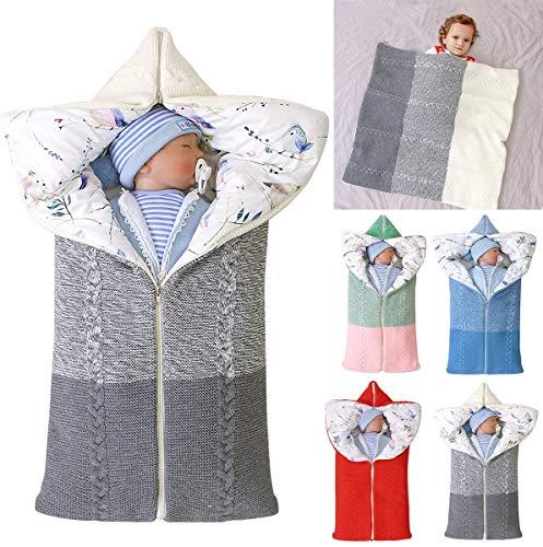 Manta Envolvente para Saco De Dormir para Bebé, Tejido De Ganchillo, Manta Envolvente, Manta Envolvente Cálida, Saco De Dormir, Accesorio De Fotografía para Recién Nacidos Durante 0-12 Meses,Gris