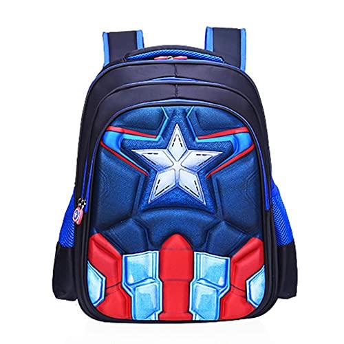 Xyh723 Mochila para Niños Capitán América Escolar De Vacaciones Escuela Primaria Libro Maleta Adolescentes Superhéroe Regalo De Cumpleaños,Blue-S