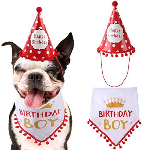 Hond Gelukkige Verjaardag Bandana Sjaals en Leuke Feesthoed voor Meisjes Jongens, Zachte Sjaal & Schattige Hoed voor Feestaccessoire, Pet Verjaardagscadeau Decoraties Set, Rood