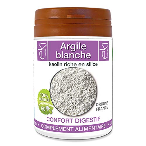Argile blanche | 60 gélules | Confort Digestif | 230 mg dosage 100% naturel sans additif et non comprimé | EKI LIBRE