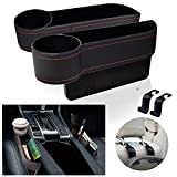 EcoNour Car Seat Gap Filler with Cup Holder (2 Pack)   Car Organizer Front Seat with Headrest Hooks   Handcrafted PU Leather Car Organizer with Extra Pad   Pocket Organizer Car Storage Accessories