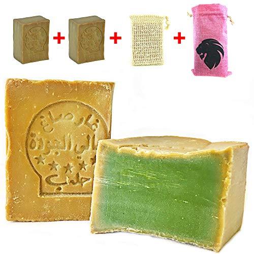 Aleppo Seife Set 2x 80% Olivenöl, 20% Lorbeeröl+Sisal Seifensäckchen+Seifenbeutel,Haarseife,Rasierseife, geeignet für unreine Haut, Handarbeit und Vegan