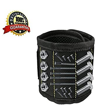 GURMORE Magnetic Wristband, Adjustable Magnetic Screw Holder with 15 Strong Magnets for Holding Tools, Screws, Nails, Bolts, Drilling Bits and Small Tools, Best Tool for DIY, Home Projects