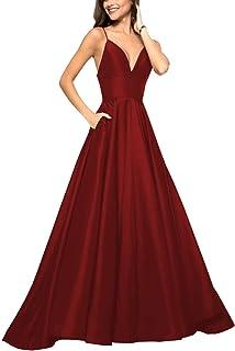 فساتين حفلات من الساتان بطول يصل إلى الأرض للنساء 2020 برقبة على شكل حرف V بأشرطة سباغيتي فستان سهرة