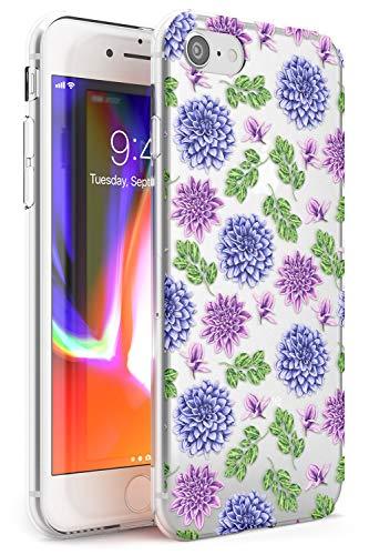 Case Warehouse Dalias púrpura Transparente Floral Slim Funda para iPhone 6 TPU Protector Ligero Phone Protectora con Flores Rosa Ilustrado Flora Acuarela