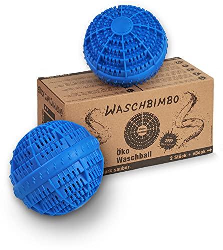 Waltola Öko Waschball - Besonders Stabiler Wäscheball - Waschkugel für Waschmaschine - neutraler Geruch - Waschbälle Wiederbefüllbar - 2er Set blau