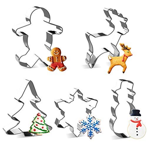 Christmas Cookie Cutter Set - Joyoldelf 5 Piece Stainless Steel Snowflake, Christmas Tree, Reindeer, Gingerbread Boy, Snowman for Kids