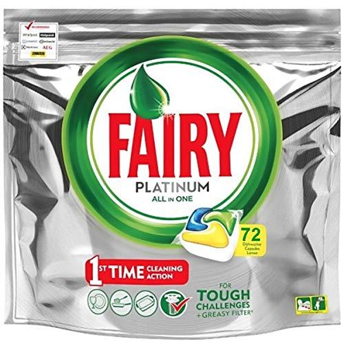 Fairy Platinum - Pastillas para lavavajillas todo en uno, 72 cápsulas, limón,...