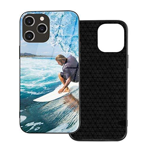 Funda para teléfono Surfer On Blue Ocean Wave Funda para teléfono para iPhone 12/12 Mini / 12 Pro / 12 Pro MAX Contraportada de Vidrio Templado + TPU para iPhone 12 Pro MAX 6.7 Pulgadas