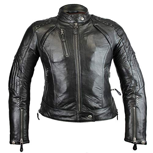 MC Murray Lederjacke Damen Motorradjacke mit Protektoren – Lederjacke für Damen Gr. 4X-Large, Schwarz