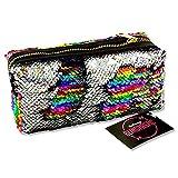Premier Stationery G3818304 Emotionery Blingtastic - Estuche reversible con lentejuelas en dos tonos, color plateado y arcoíris