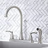 VCCUCINE 2 Handle Kitchen Faucet,Contemporary Solid Brass Stainless Steel Centerset High Arch Brushed Nickel Kitchen Sink Faucet with Pull Out Sprayer