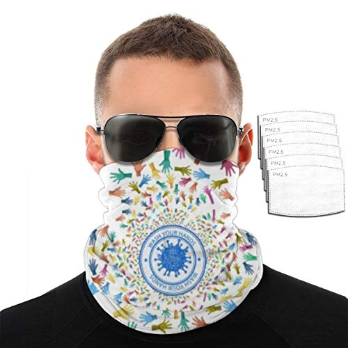Breathable Bandana With Filter Neck Gaiter Abstract Rendering Set Colorful Co-vid Coronavi-rus Balaclava Headband Mask For Summer Festivals And Outdoors