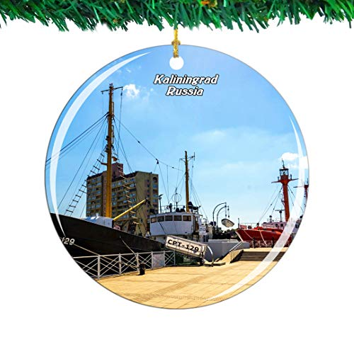 Weekino Russia Museum of the World Ocean Kaliningrad Christmas Ornament City Travel Souvenir Collection Double Sided Porcelain 2.85 Inch Hanging Tree Decoration