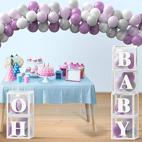 130 Pcs Purple Lavender Bridal Shower, First Birthday Decorations with 30 Stick-On Alphabet Letters and Balloon Garland Arch Kit - Baby Boxes with Letters for Baby Shower Decorations for Girl, Boy