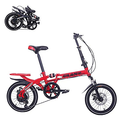 Bicicleta plegable para adultos, 14 pulgadas, que ahorra mano de obra, amortiguadora, para pasajeros, 6 velocidades, velocidad variable, freno de disco doble ajustable, plegable rápido, 4 colores