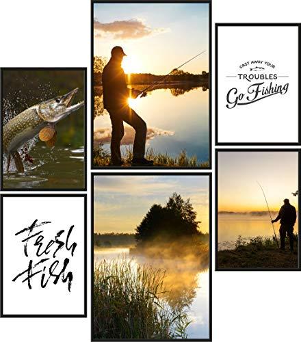 Papierschmiede® Premium Poster Set Angeln | 6 Bilder als stilvolle Wanddeko | 2X DIN A4 und 4X DIN A5 | Sportangler Urlaub Fischer