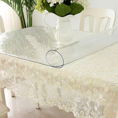 Nappe Transparente,PVC Imperméable Anti-brûlure En Plastique Doux Verre Mat Table De Thé Table De Thé Rectangle Square Étui De Protection (Couleur : Transparent 2mm, taille : 85 * 135cm)