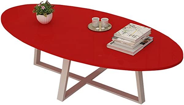 ZHILIAN Oval Multi Function Balcony Coffee Table Dining Table Study Solid Wood Metal Living Room Dining Room Bedroom Coffee Table Color Red