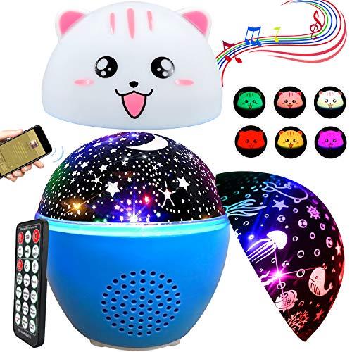 Sternenhimmel Projektor Lampe Kinder 3 in 1 Drehbar Ozean Welt Sternenprojektor Nachtlicht Nachttischlampe mit 16 Farbige Bluetooth Musik Projektionslampe Baby mit USB/wiederaufladbar Batterie (Blau)