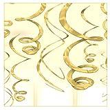 Libetui 12 goldene Folienwirbel Deko Gold Spiralen Partydeko tolle originelle Dekoration Ideen für Geburtstag Party Farbe Gold