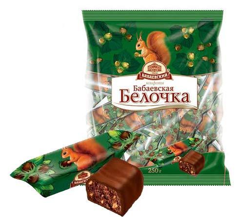 Pralinen Babaevskaja belochka 3er Pack (3 x 200g) russisches Konfekt mit Nüssen in kakaohaltiger Glasur