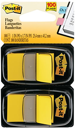 Postit Flags Value Marking Flags in Dispenser Yellow 1 in Wide 680YW2 50 Page Pack of 12