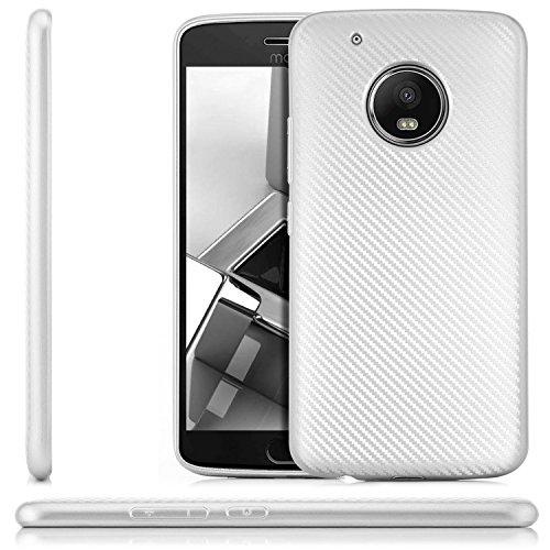 Preisvergleich Produktbild zanasta® Lenovo Moto G5 Plus Hülle,  Premium Schutzhülle Soft Flex Silikon Carbon Case TPU Slim Cover Handyhülle / Metallic Silber